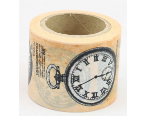 Dekorační lepicí páska - WASHI pásky-1ks retro hodinky, 10 m x 38 mm