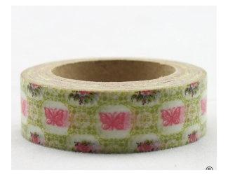 Dekorační lepicí páska - WASHI pásky-1ks růžoví motýli v zelené