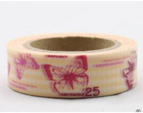 Dekorační lepicí páska - WASHI pásky-1ks červení motýli ve žluté