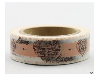 Dekorační lepicí páska - WASHI pásky-1ks srdce s nápisem LOVE