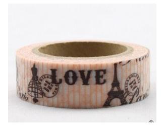 Dekorační lepicí páska - WASHI tape-1ks Love, Eiffelovka