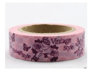Dekorační lepicí páska - WASHI tape-1ks Vintage style, růže