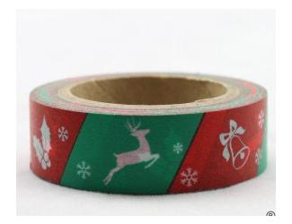 Dekorační lepicí páska - WASHI tape-1ks sob, zvonec,hůl