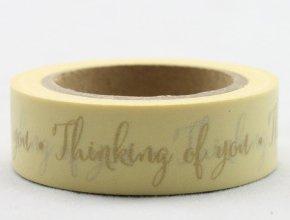 Dekorační lepicí páska - WASHI pásky-1ks zlatá Thinking of You