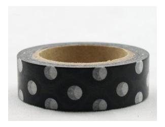 Dekorační lepicí páska - WASHI pásky-1ksbílé puntíky v černé