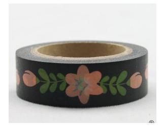Dekorační lepicí páska - WASHI pásky-1ksbílé květiny v černé