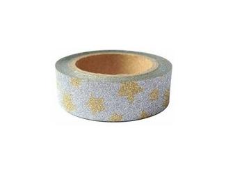 Dekorační lepicí páska glitrová - WASHI tape - stříbrná se zlatým hvězdami