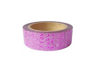 Dekorační lepicí páska glitrová - WASHI tape - růžová s růžovým nápisem LOVE