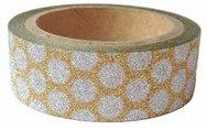 Dekorační lepicí páska glitrová - WASHI tape - zlatá se stříbrnými kolečky