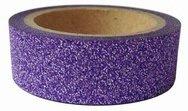 Dekorační lepicí páska glitrová - WASHI tape - fialová