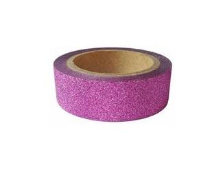 Dekorační lepicí páska glitrová - WASHI tape - růžová