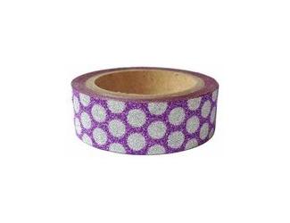 Dekorační lepicí páska glitrová - WASHI tape - fialová se stříbrnými puntíky
