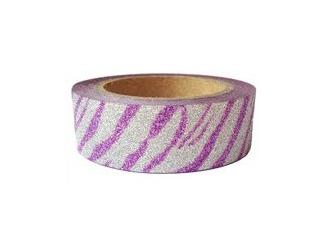 Dekorační lepicí páska glitrová - WASHI tape - tygrovaná - fialovostříbrná