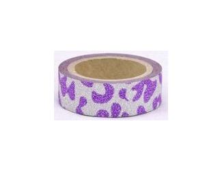 Dekorační lepicí páska glitrová - WASHI tape - safari - fialovostříbrná