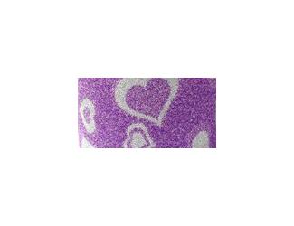 Dekorační lepicí páska glitrová - WASHI tape - fialová se stříbrným srdíčky