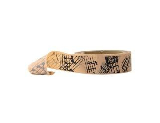 Dekorační lepicí páska - WASHI pásky-1ks noty ve žlutém