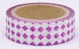 Dekorační lepicí páska glitrová - WASHI tape - fialové kosočtvrce