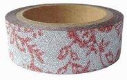 Dekorační lepicí páska glitrová - WASHI tape - červené kytičky
