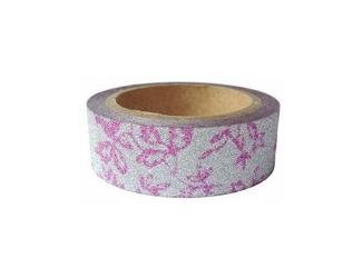 Dekorační lepicí páska glitrová - WASHI tape - růžové kytičky