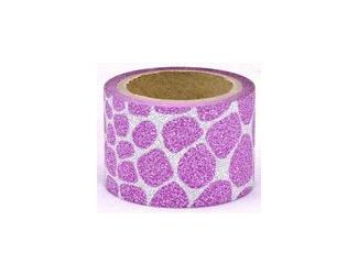 Dekorační lepicí páska glitrová - WASHI tape - růžové puntiky