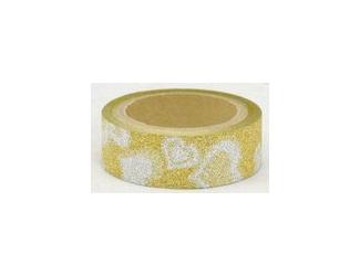 Dekorační lepicí páska glitrová - WASHI tape - zlatá + stříbrná srdce