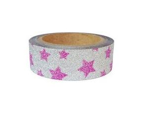 Dekorační lepicí páska glitrová - WASHI tape - růžové hvězdy