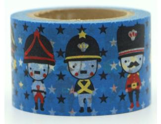 Dekorační lepicí páska - WASHI pásky -1ks vojáci v modré