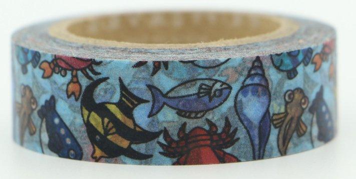 Dekorační lepicí páska - WASHI pásky-1ks mořské ryby