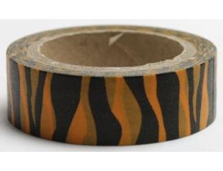 Dekorační lepicí páska - WASHI tape-1ks - zebra oranž