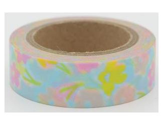 Dekorační lepicí páska - WASHI pásky-1ks - barevné kytičky + modrý podklad