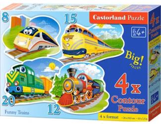 Puzzle Castorland sada 4v1 - Vláčci - 8,12,15,20 dílků