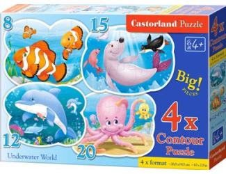 Puzzle sada 4v1- Mořský svět - 8,12,15,20 dílků