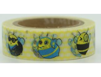 Dekorační lepicí páska - WASHI pásky-1ks Včelky