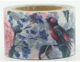 Dekorační lepicí páska - WASHI pásky -1ks ptáčci a květiny