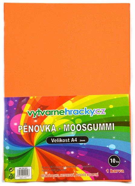 Pěnovka- oranžová, 10 ks, A4 - cca 2 mm
