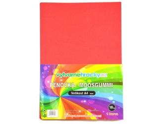 Pěnovka-červená, 10 ks, A4 - cca 2 mm