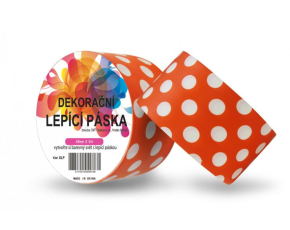 Dekorační lepicí páska - DUCT TAPE-1ks bílé puntíky v oranžovém