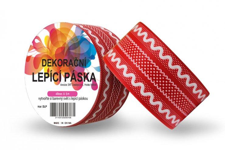 Dekorační lepicí páska - DUCT TAPE-1ks červená krajka
