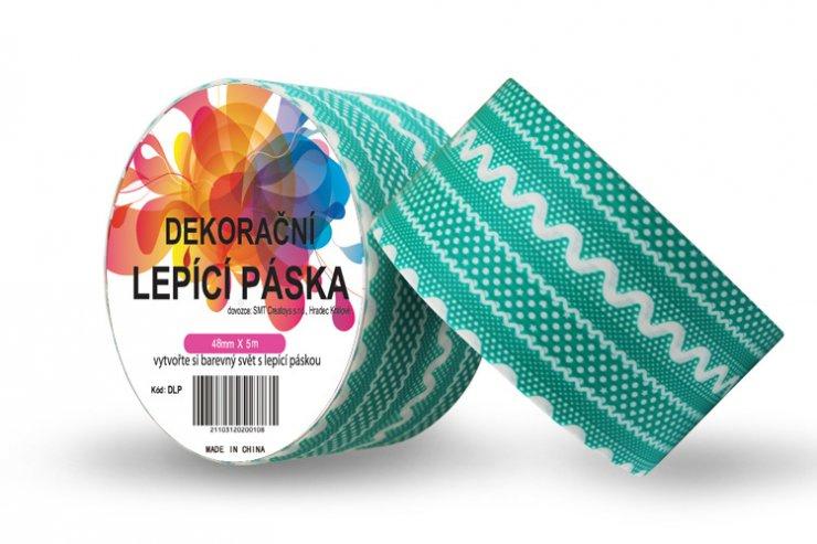 Dekorační lepicí páska - DUCT TAPE-1ks tyrkysová krajka