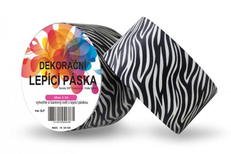 Dekorační lepicí páska - DUCT TAPE-1ks zebra černá
