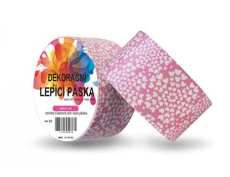 Dekorační lepicí páska - DUCT TAPE-1ks srdíčka v růžovém
