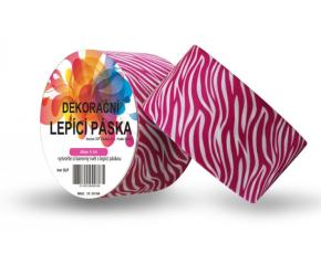 Dekorační lepicí páska - DUCT TAPE-1ks zebra růžová