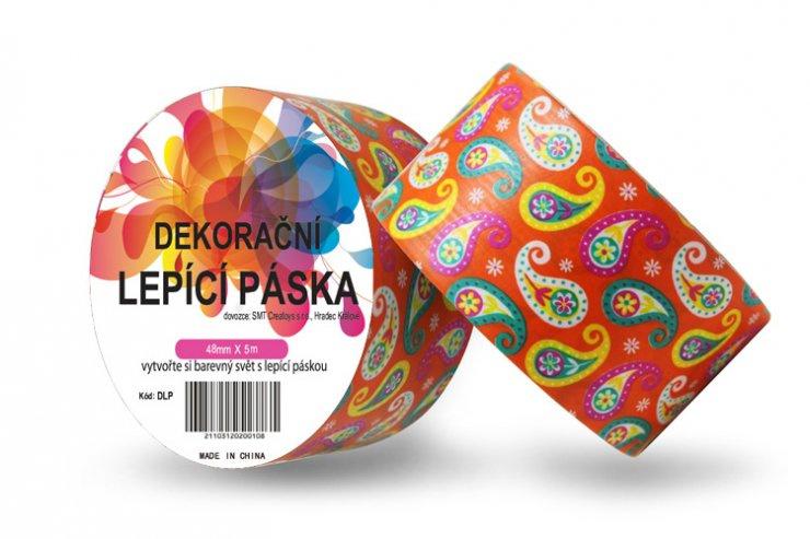 Dekorační lepicí páska - DUCT TAPE-1ks ornament v oranžovém