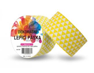 Dekorační lepicí páska - DUCT TAPE-1ks žluté 3úhelníky