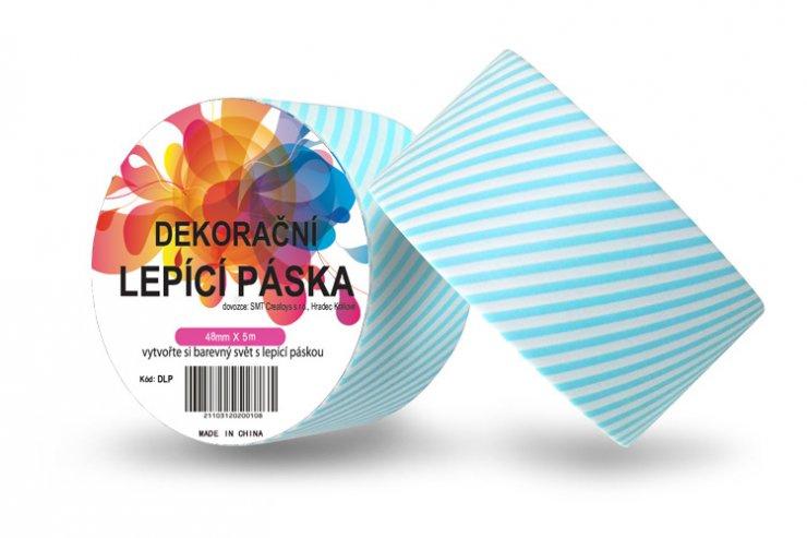 Dekorační lepicí páska - DUCT TAPE-1ks modré proužky