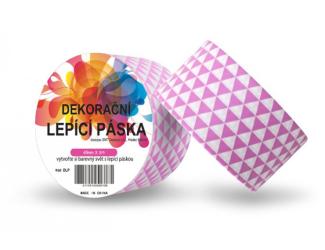 Dekorační lepicí páska - DUCT TAPE-1ks růžové 3úhelníky