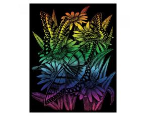 Škrabací obrázek- Duhový- Motýlci