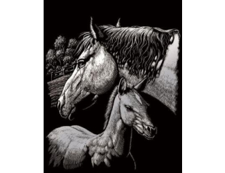 Škrabací obrázek stříbrný - Klisna s hříbětem