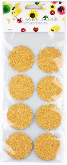 Samolepící korek - kytičky, 8 ks, 5,3cm
