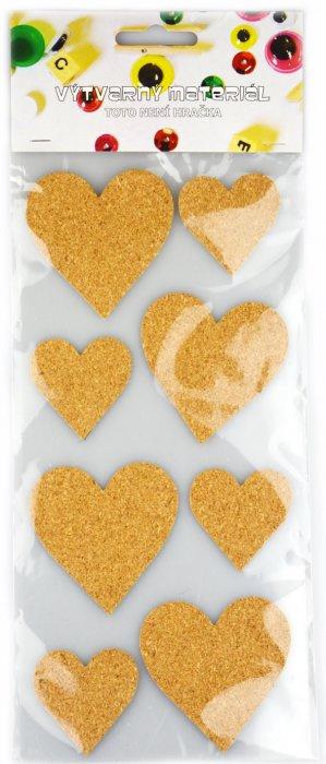 Samolepicí korek - srdce, 8 ks, velikost 6,3 a 4,3cm